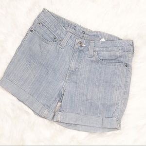 Levis | Striped Light Wash Cuffed Denim Shorts